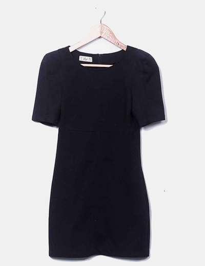 Vestido negro manga abullonada Pull&Bear