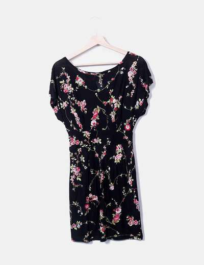 Vestido preto floral Mango