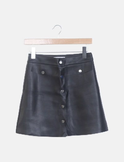 Mini falda negra polipiel