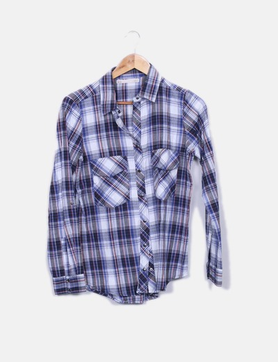 Camisa de cuadros con bolsillos Sfera