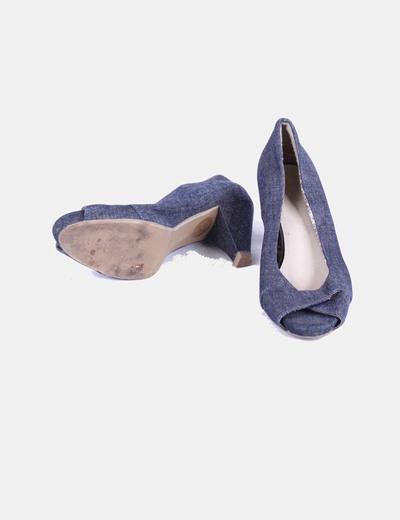 Zapato denim oscuro peep toe