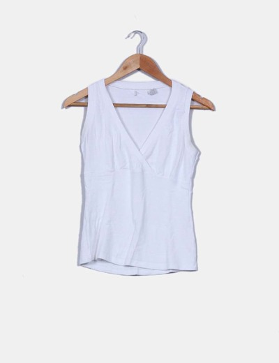 Top tricot blanco escote en pico