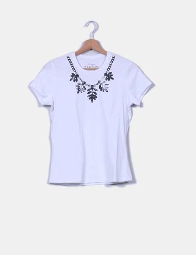 Camiseta blanca print gargantilla Statum
