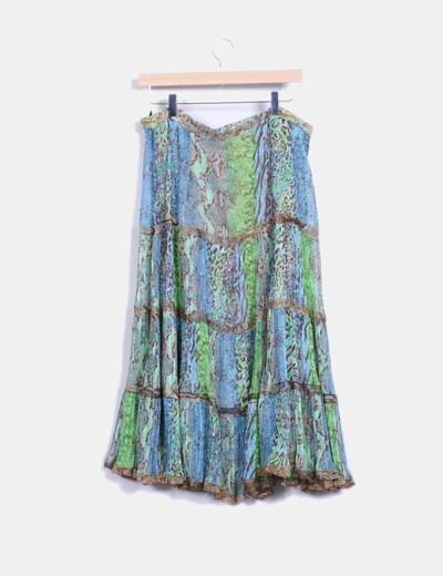 Falda animal print tonos verde y azul