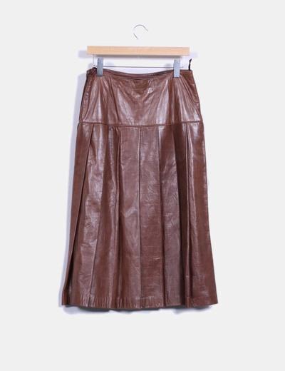 Chaqueta cuero y falda traje 2 piezas