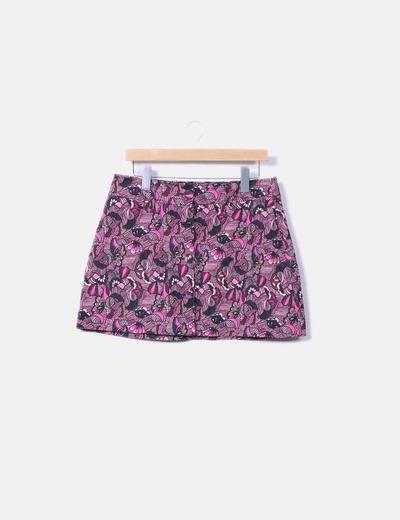Minifalda botones floral Zara