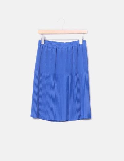 Falda plisada azul