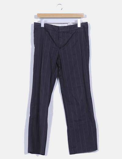 Pantalon gris estampado rayas  finas Zara