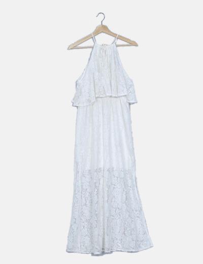 Maxi vestido de encaje blanco con volante
