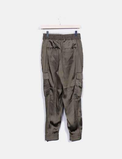 pantalon raso verde zara