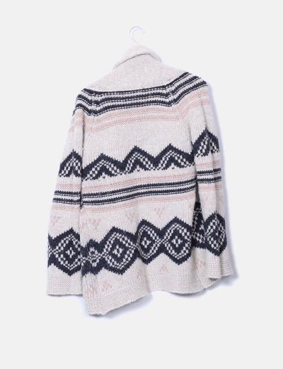 Cardigan de lana beige con estampado
