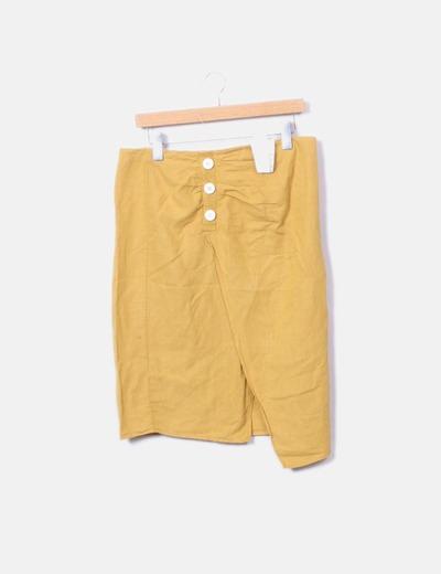 Falda amarilla de lino