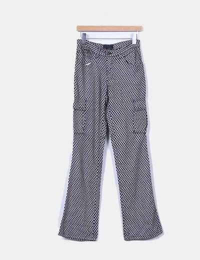 Pantalón estampado blanco y negro con bolsillos Lois