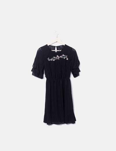 Vestido plisado negro floral