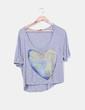 Camiseta gris oversize print corazón Pull&Bear