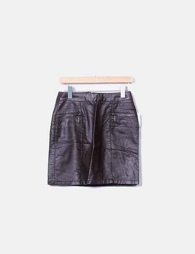 Mini falda polipiel marrón chocolate Amichi