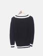 Jersey tricot negro cuello pico Bershka