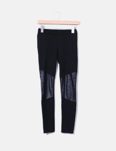 Legging negro con polipiel NoName