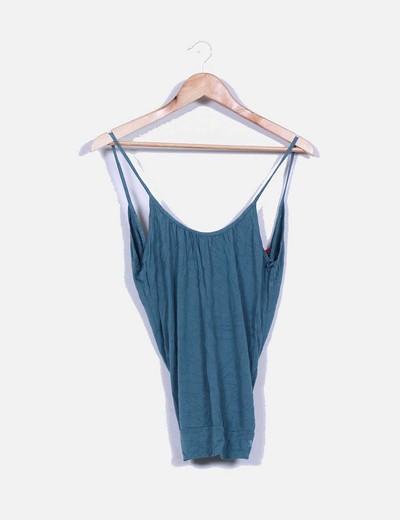 Camiseta azul petroleo con escote cruzado en la espalda Spirit