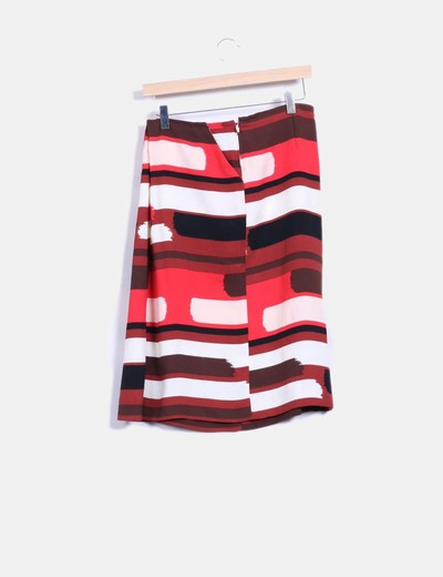 Falda midi con estampado multicolor