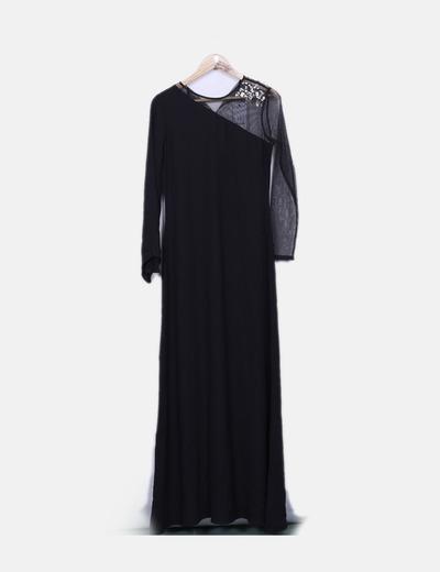 Suiteblanco Maxi schwarzes Kleid kombiniert mit Strasssteinen ... d319482703