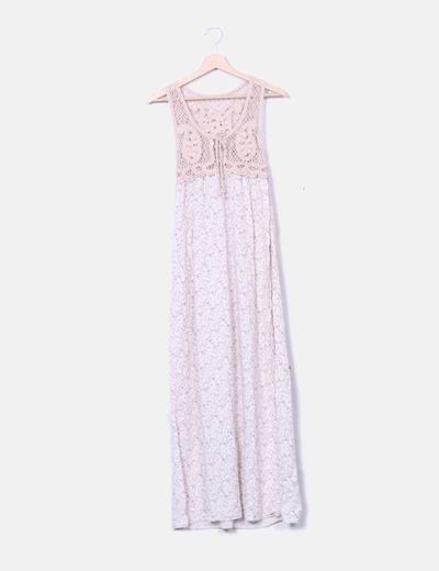 Vestido maxi rosa floral combinado