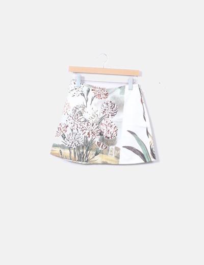 Falda recta floral