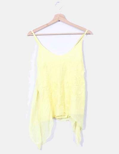 Top amarillo con bordados NoName