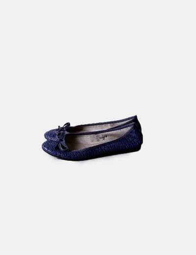 Bailarina azul texturizada Best Shoes