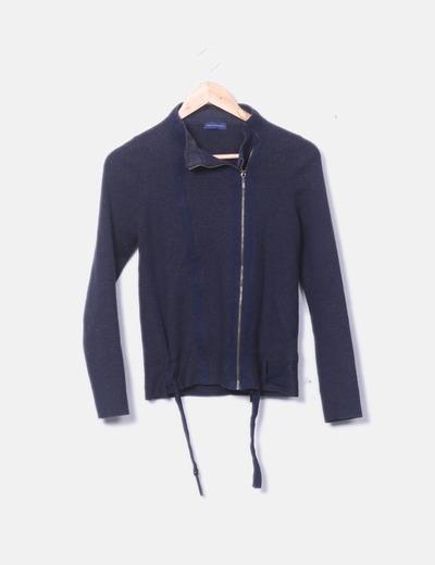 Jersey tricot azul marino con cremallera