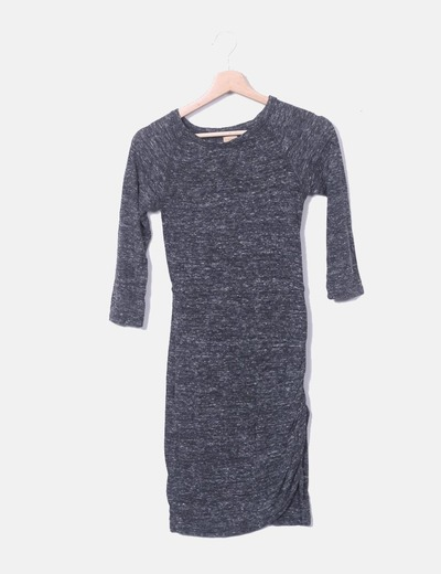 Vestido gris marengo jaspeado Zara