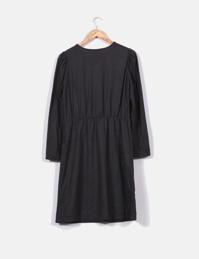 Vestido gris marengo con manga abullonada