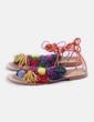 Sandalia plana con borlas multicolor Zara
