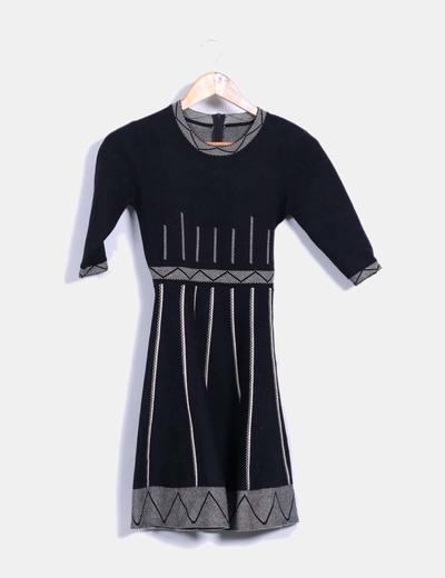 Vestido de punto efecto tablas Teria Yabar