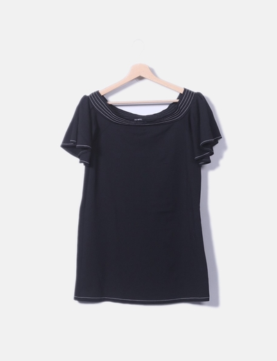 Camiseta negra vuelo manga