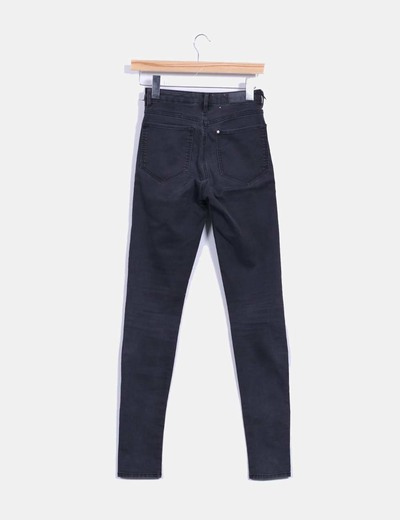 Pantalon denim negro tiro alto