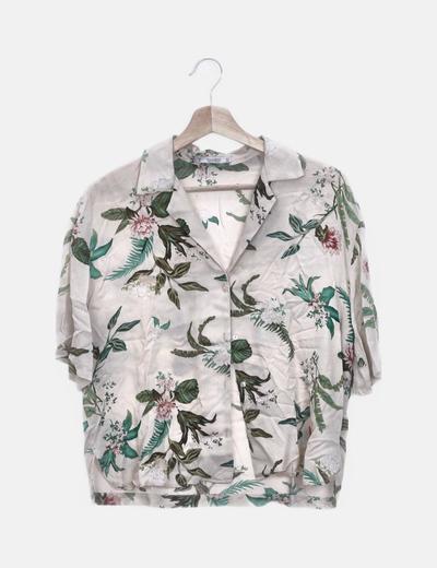 Camisa beige print hojas