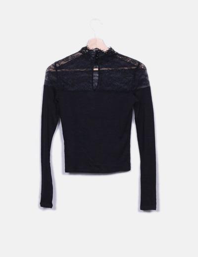 Top negro combinado crochet