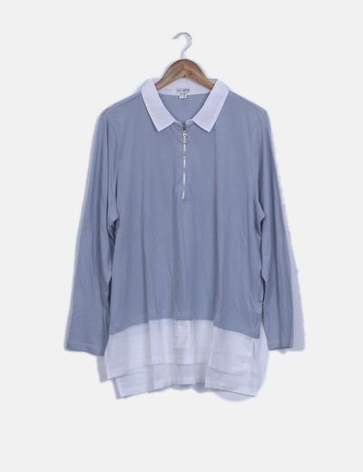 Blusa bicolor con detalle cremallera