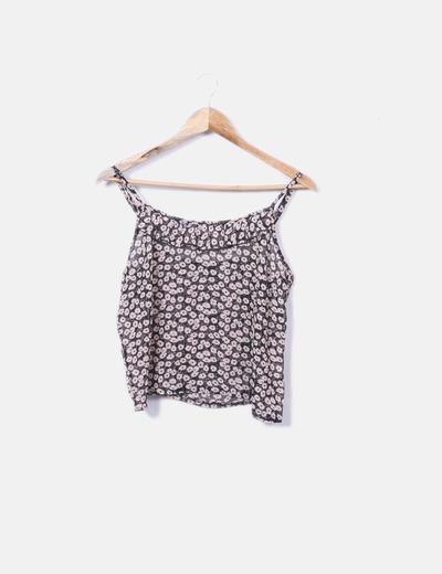 Blusa floral negra y beige Primark