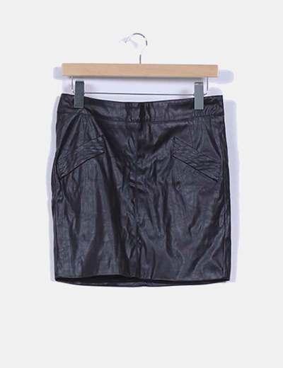 Falda efecto piel detalle bolsillo y cremallera Amisu