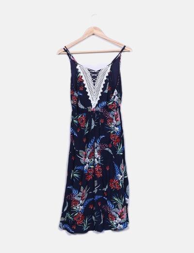 Vestido azul marino print con crochet
