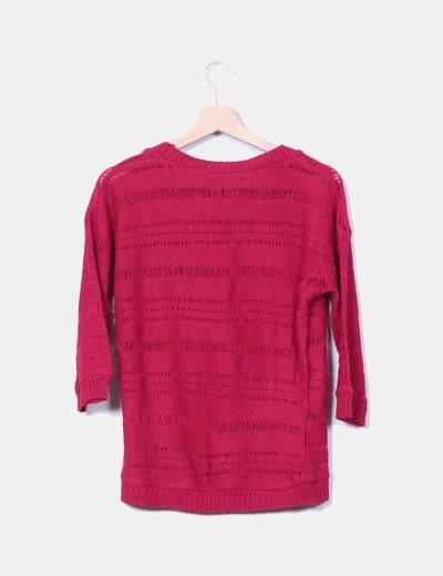Tricot rosa de rejilla