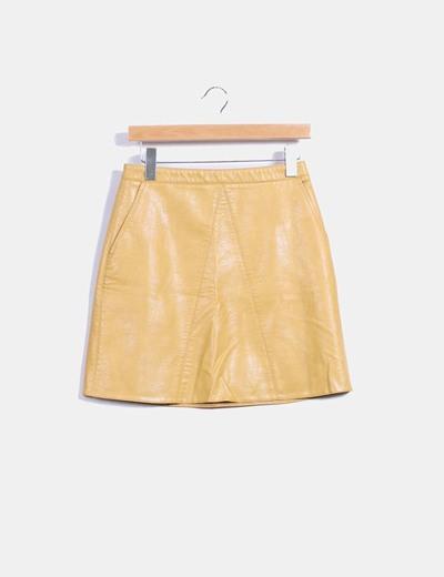 Mini falda color mostaza  Zara