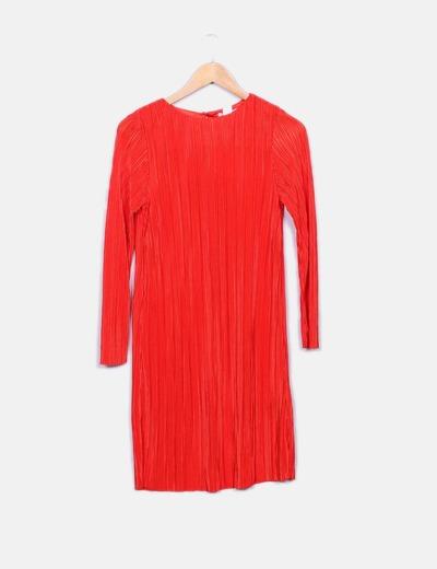 Vestido midi rojo plisado H&M