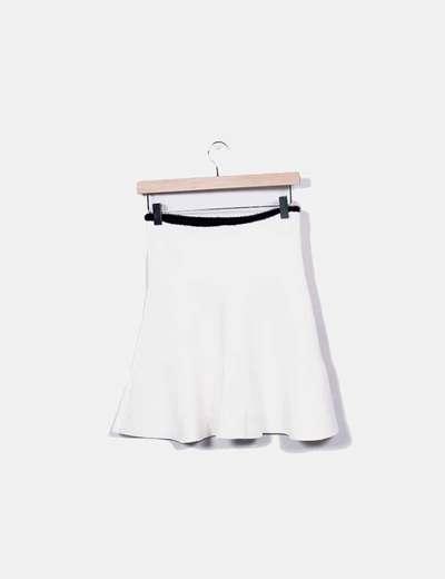 Falda tricot evase blanca