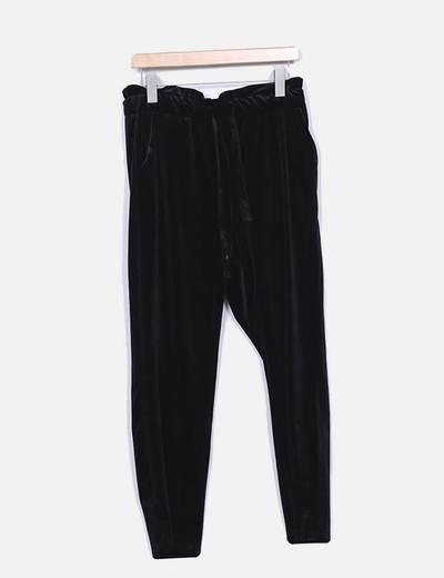 Pantalón baggy terciopelo negro VILA