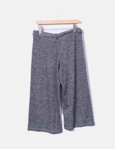 Pantalon culotte gris jaspeado