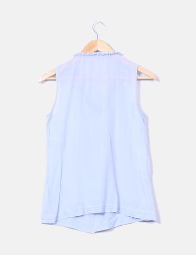 Blusa borlas celeste