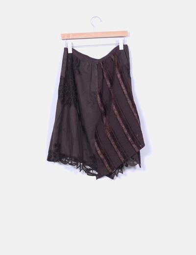 Falda midi combinada crochet marron chocolate
